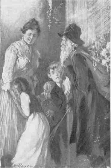 Belsnickle visiting children, some of whom would rather he skipped their house.