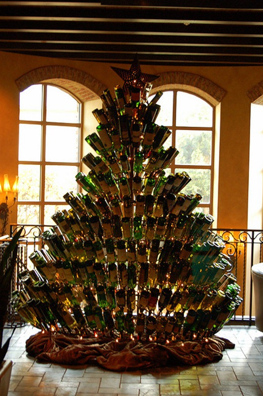 Wine bottle christmas tree the yule log 365 for How to make a wine tree